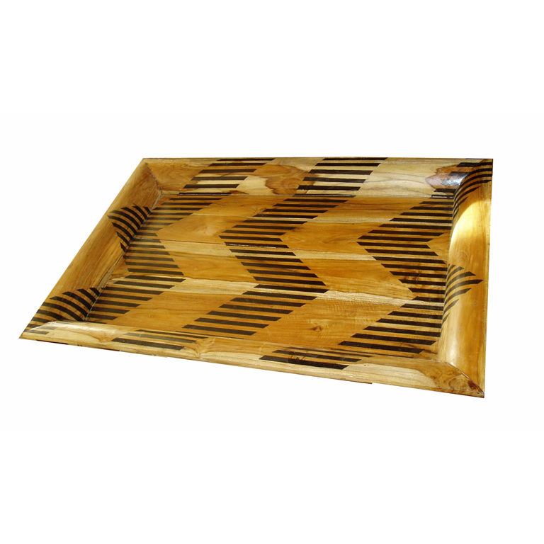 Chevron-Patterned Serving Tray